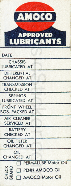 Amoco 10-1-54 Oil Change Sticker