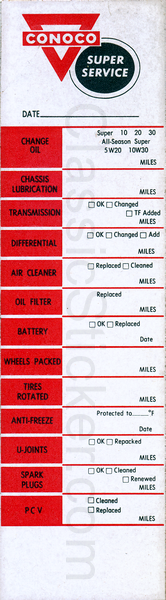 Conoco Super Service Oil Change Sticker
