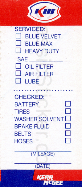 Kerr McGee Oil Change Sticker