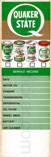 Quaker State #1 Oil Change Sticker