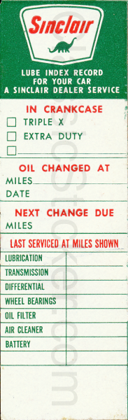 Sinclair 11-63 Oil Change Sticker