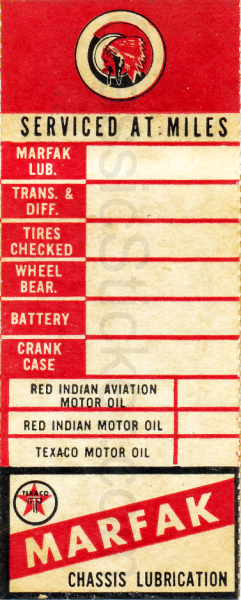 Texaco Red Indian Oil Change Sticker